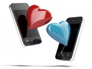 Two Smartphones With Love Hearts