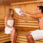 Couple enjoying a sauna